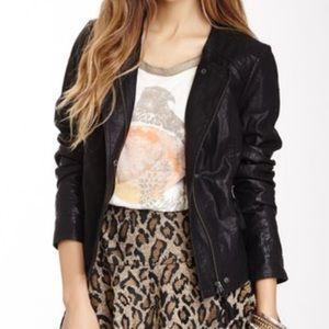 Free People - Lace Back Faux Leather Moto Jacket